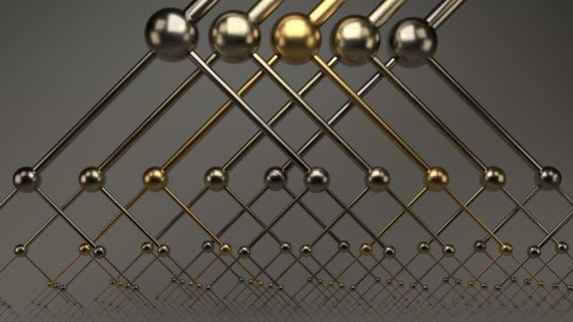 vídeos de stock e filmes b-roll de infinite zoom into abstract shiny reflective metallic binary trees - 4k seamless loop motion background animation - cromo metal