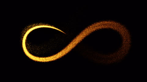 vidéos et rushes de symbole de l'infini (boucle 4k + alpha). particules de feu d'artifice ralenti - symbole