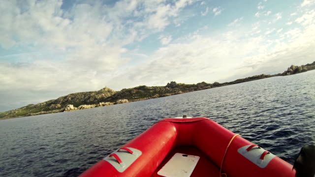 Inflatable Boat sailing Mediterranean sea video