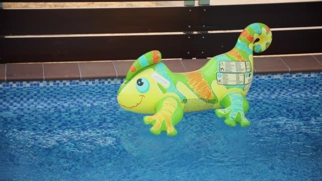 vídeos de stock e filmes b-roll de inflatable lizard toy floating in empty pool in backyard of luxury villa - brinquedos na piscina
