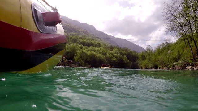 Inflatable Raft Floating On The River video