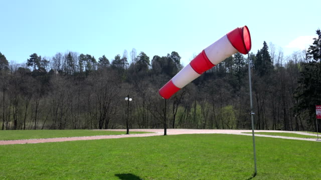 Inflated air sleeve windsock show direction of wind blow. 4K