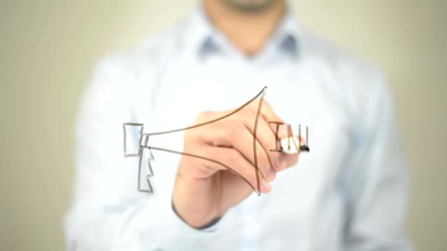 Info, Announcement,  Man writing on transparent screen video
