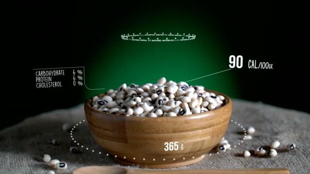 Infographic of Black Eyed Pea with vitamins, microelements minerals. Energy, calorie and component video