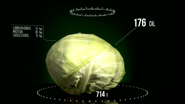 Infographic of Cabbage with vitamins, microelements minerals. Energy, calorie and component video