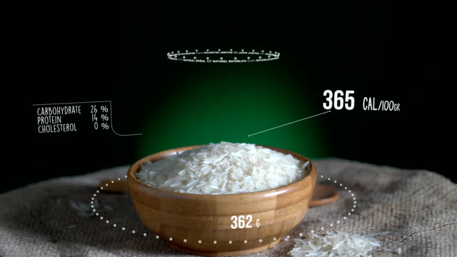 Infographic of Long Grain Rice with vitamins, microelements minerals. Energy, calorie and component video