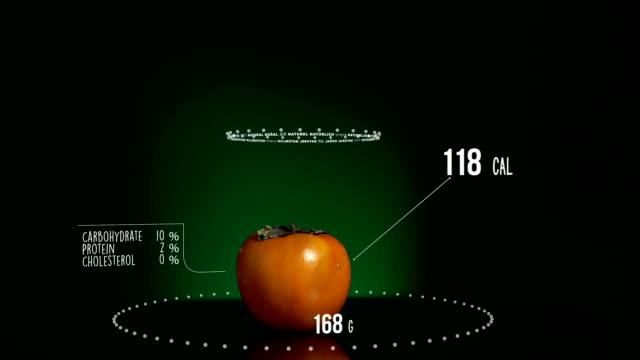 vídeos de stock e filmes b-roll de infographic of persimmon with vitamins, microelements minerals. energy, calorie and component - diospiro