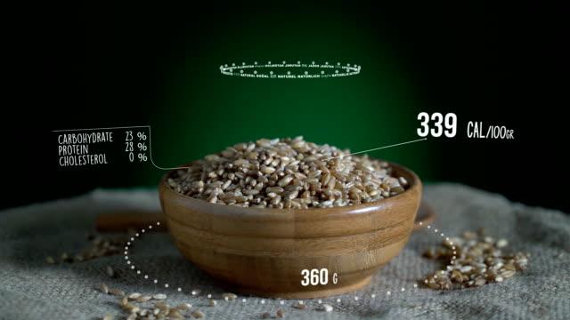 infographic of wheat with vitamins, microelements minerals. energy, calorie and component - węglowodan jedzenie filmów i materiałów b-roll