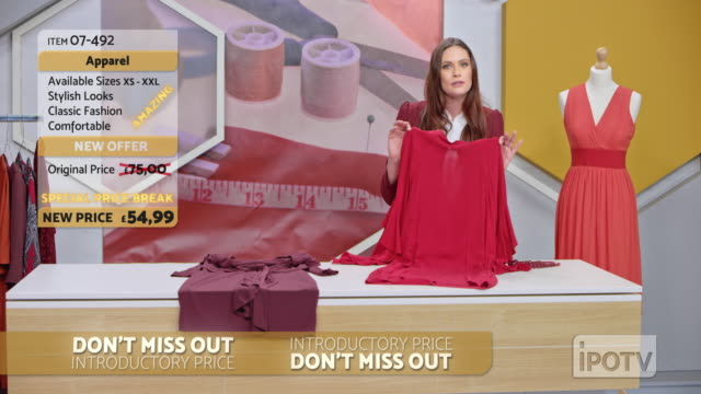 UK infomercial montage: Female host of a tv show about sewing talking to her audience and presenting the designs