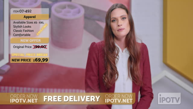 US infomercial montage: Female host of a tv show about sewing talking to her audience and presenting the designs