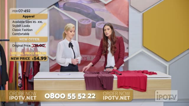 UK infomercial montage: Female stylist on a tv show talking to the female host about the designs of the dresses on the table
