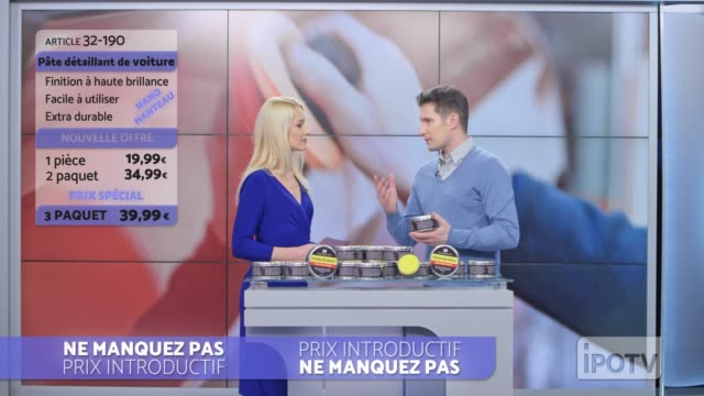 Infomercial montage in French: Female host introducing male car wax presenter on the show