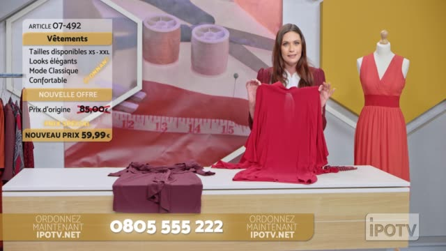 Infomercial montage in French: Female host of a tv show about sewing talking to her audience and presenting the designs Montage of clips edited to look like a French infomercial of a female host of a sewing show talking to the audience while presenting different designs of dresses. Shot in Slovenia. television host stock videos & royalty-free footage