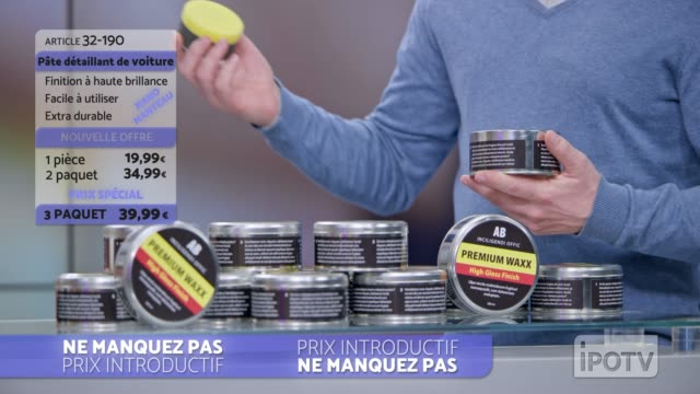 Infomercial montage in French: Female host talking about the car wax product being presented on the show Montage of clips edited to look like a French infomercial of a female host talking to the audience and the man presenting a car wax product on the show. Shot in Slovenia. television host stock videos & royalty-free footage