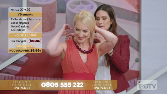 Infomercial montage in French: Stylist on a tv show talking about the dress the model is wearing and placing a necklace around her neck while talking with the to the female host