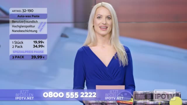 Infomercial montage in German: Female host introducing male car wax presenter on the show Montage of clips edited to look like a German infomercial of a female host introducing the man presenting a car wax product on the show. Shot in Slovenia. television host stock videos & royalty-free footage