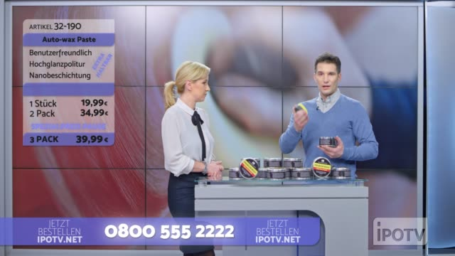 Infomercial montage in German: Female host talking about the car wax product being presented on the show