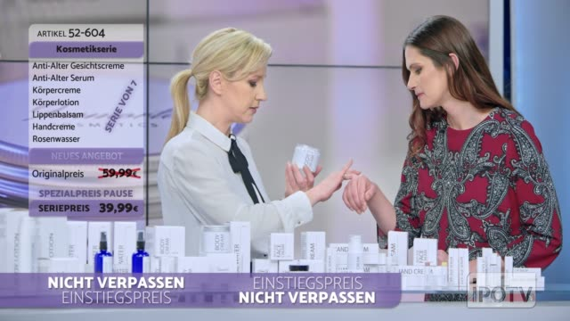 Infomercial montage in German: Woman presenting a cosmetic line on an infomercial show rubbing some cream on the female model while talking to the male host and explaining the product