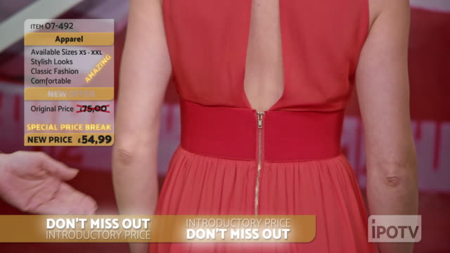 UK infomercial montage: Stylist on a tv show talking about the dress the model is wearing and placing a necklace around her neck while talking with the to the female host