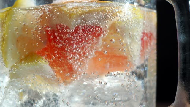 Infused water close-up video