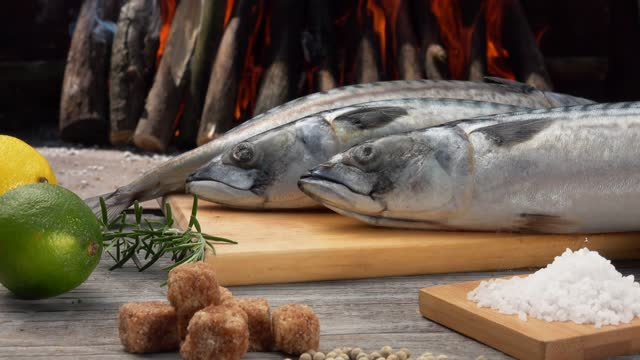 Ingredients for preparing Mackerel fish on the grill. Lemons, sugar and sea salt Ingredients for preparing Mackerel fish on the grill. Lemons and limes, brown sugar and sea salt on the background of burning fire fillet stock videos & royalty-free footage
