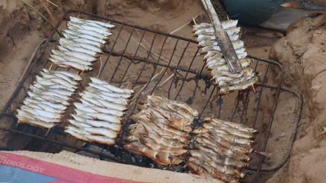 In-ground barbecue with fish grilling and using cooking tongs video