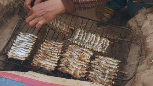 In-ground barbecue with fish grilling video