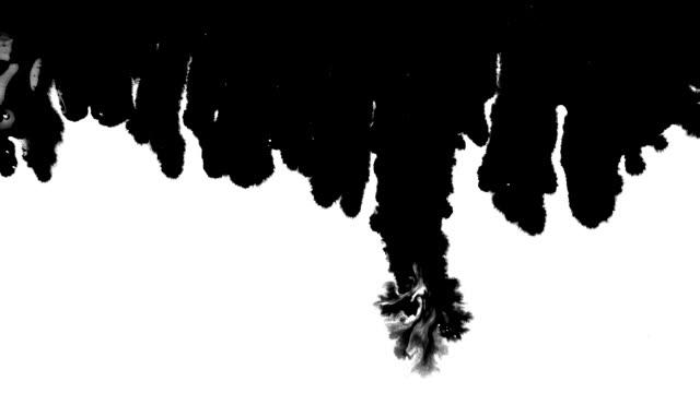 Ink drops stream splatter stain leak spreads flows scatter over screen