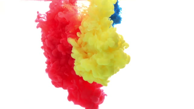 Ink in water. Colour ink reacting in water creating abstract cloud formations. Can be used as transitions, Added to modern projects, gunge projects, art backgrounds. Inky Drops, Ink Bolts, Paint