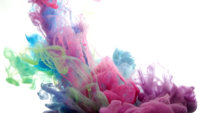 ink in water. colour ink reacting in water creating abstract cloud formations. can be used as transitions, added to modern projects, gunge projects, art backgrounds. inky drops, ink bolts, paint - ink splatter stock videos and b-roll footage