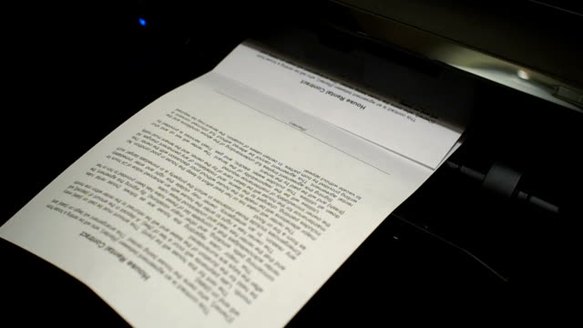 Ink printer prints the house rental contract, document 3 video