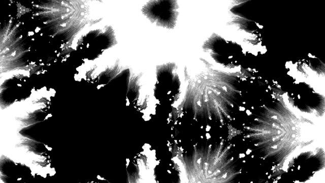 Ink splatter Rorschach test spread in fractals