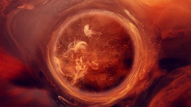 ink water swirl magic firework orange sparks