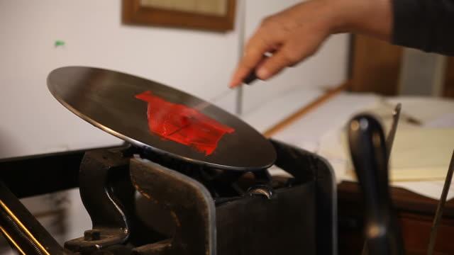 inking disk on letterpress video