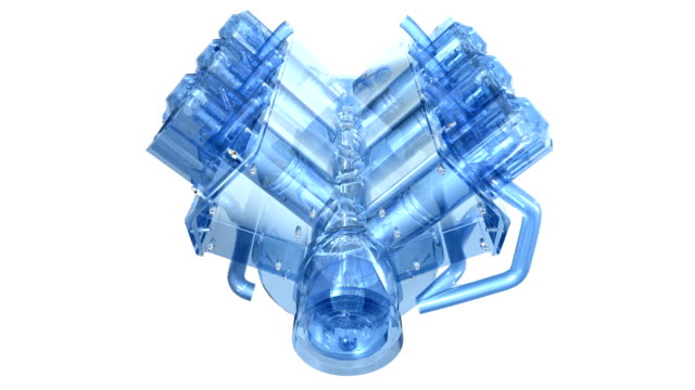 in-line 6 cylinder diesel engine, rotating, highspeed video