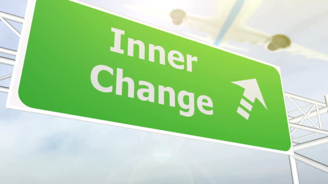 Inner change concept road sign on highway video