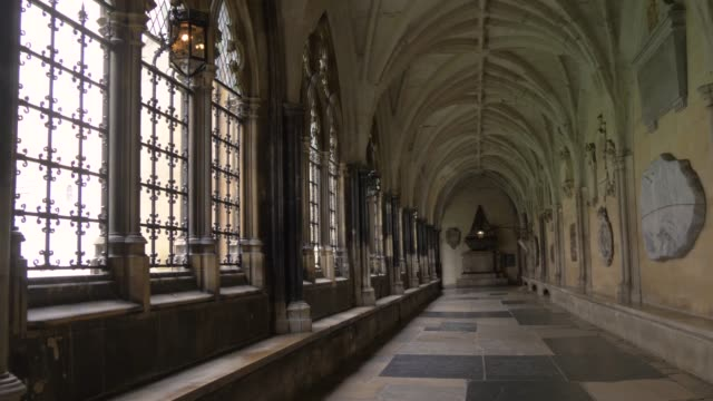 Inner corridors of Westminster Abbey, London, UA video
