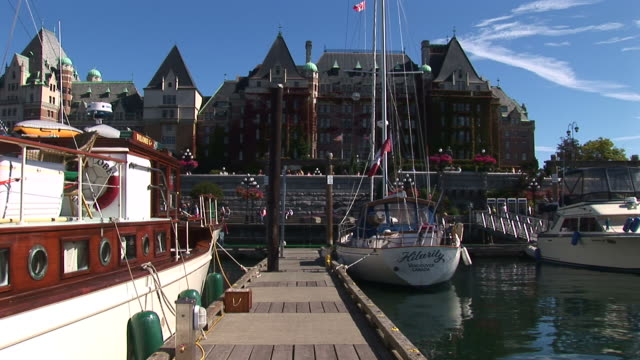 Inner Harbour marina overlooking the Empress Hotel in Victoria, BC. video