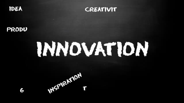 Innovation chalk board loop animation. video