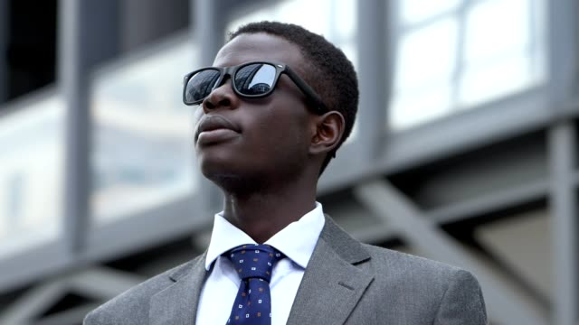 Innovation,challenge, Business. African american young businees man in the city