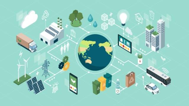 innovative green technologies and sustainability - sostenibilità video stock e b–roll