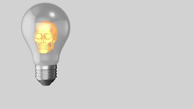 Innovative horror seeming glowing skull light bulb