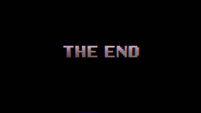 inscription the  end blue on a black screen in retro ,pixel art style - technika ilustracji filmów i materiałów b-roll