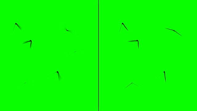 iki gruba bölünmüş yeşil ekran arka planda uçan böcekler. düz ve hareket bulanıklığı - sinek stok videoları ve detay görüntü çekimi
