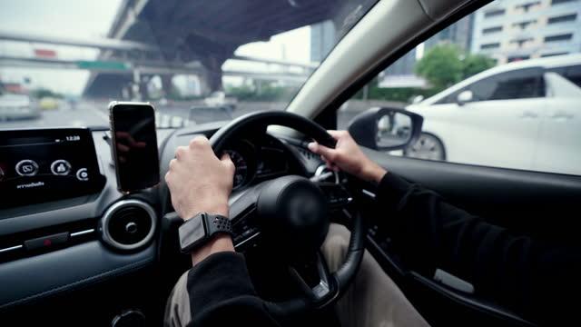 Inside a car driving on city street