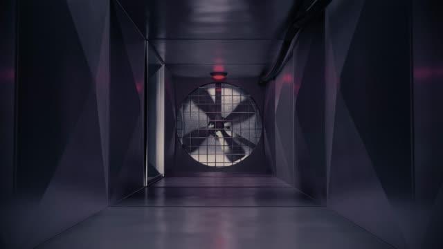 vídeos de stock, filmes e b-roll de dentro ar ventilação ar duto ar eixo ventilação sistema ação filme fuga 4k - ar condicionado