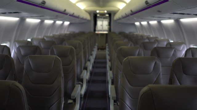 Inside airplane view - no people Inside airplane view - no people seat stock videos & royalty-free footage
