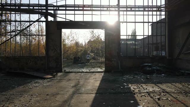 Inside an abandoned warehouse