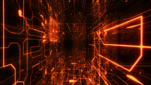 Inside circuit board. Orange. Loopable. Futuristic background. Network connections. video