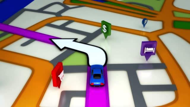 Inside GPS animation. White and lilac. video